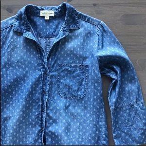 Cloth & Stone Denim Chambray Button Shirt Top XS